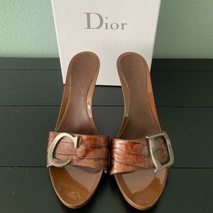 Open Toe Dior Heels with brown leather straps